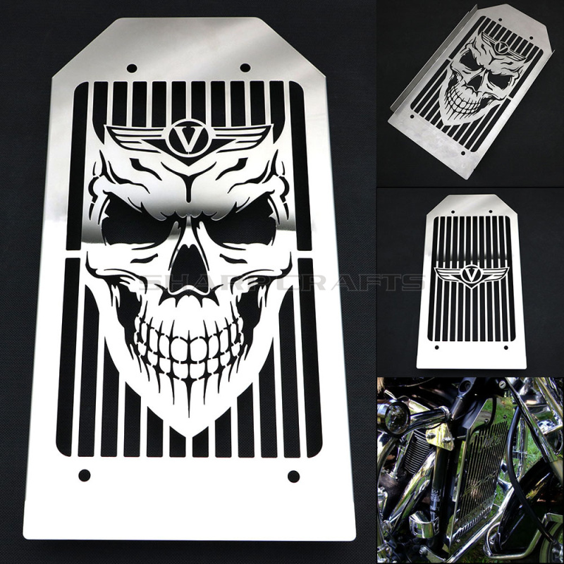 Motorcycle SKULL Stainless Steel Radiator Cover Grill Guard Protector For KAWASAKI VN 2000 VULCAN VN2000 All