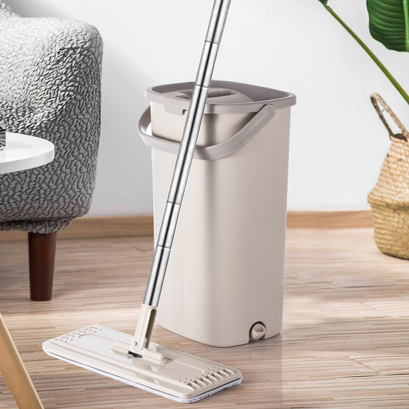 Magic Flat Mop And Bucket Hand Free 360 Degree Head Self Cleaning Great for Wet And