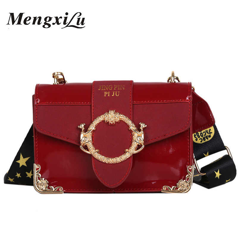 3499ca1317ad MengXiLu Fashion Mini Women Flap Handbags Luxury Sequine Patent Leather Designer  Women Shoulder Crossbody Bags Wide