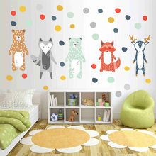 Nordic Style Cartoon Giraffe Bear Fox DIY Wall Sticker  Kids Rooms Decoration Forest Animals Art Decal Kindergarten Wall Decor nordic style hand drawn diy animals head hipsters pvc wall sticker