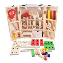 Детский деревянный многофункциональный набор инструментов, игрушки, сделай сам, коробка для обслуживания, ролевые Монтессори, развивающие игрушки для детей, рождественский подарок