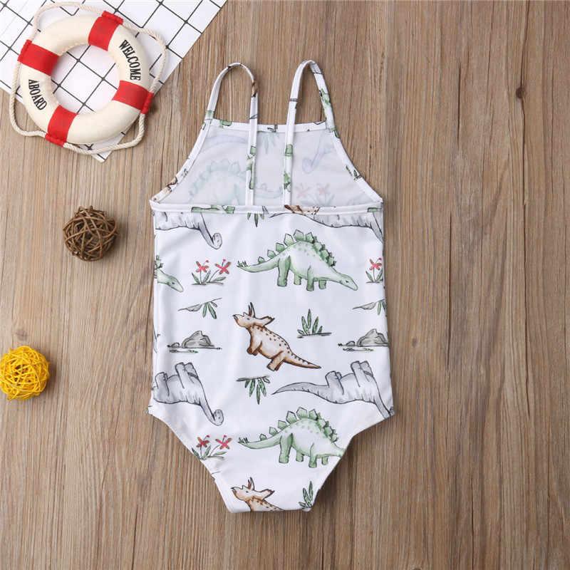 Новые милые купальники для маленьких девочек пляжная одежда без рукавов с рисунком динозавра Популярные комбинезоны летние костюмы от 2 до 6 лет