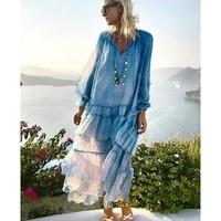 Blue Maxi Beach Dress Summer 2019 Women Plus Size Boho Dress Ruffles Ladies Long Sleeve Loose Holiday Long Sundress For Women