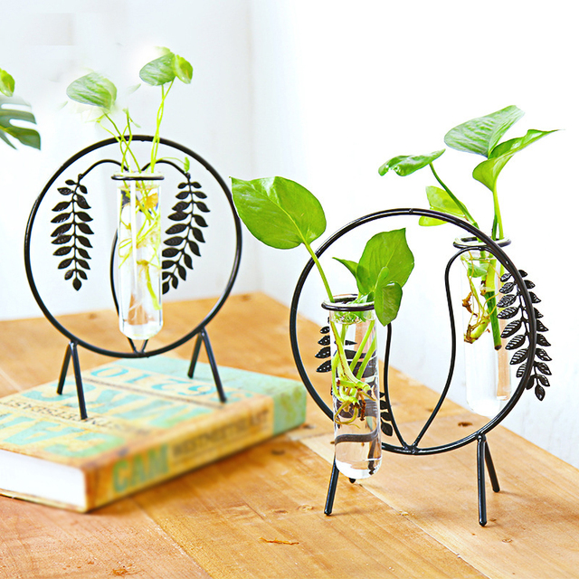 European Fashionable Transparent Glass Vase with Black Iron Vase Stand for Water Planting Decoration Gift Desktop Flower Pot