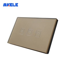Touch smart wall switch 3 Gang 1 Way US Standard Gold Screen for Lamp