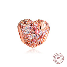CKK Rose Gleaming Ladybird Heart Charms Fits Pandora Bracelet 925 Sterling Silver Charm Beads for Jewelry Making Spring 2019