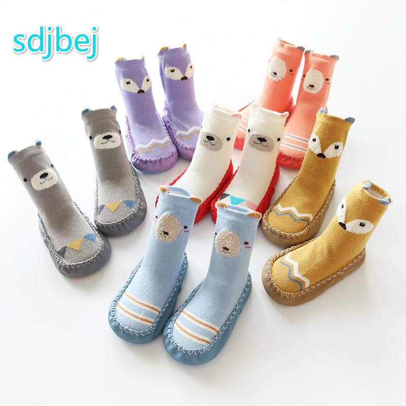 Cartoon Baby Shoes And Socks Baby Learn To Walk Non-slip Bottom  Combed Cotton Children Floor Socks Baby Home Shoes