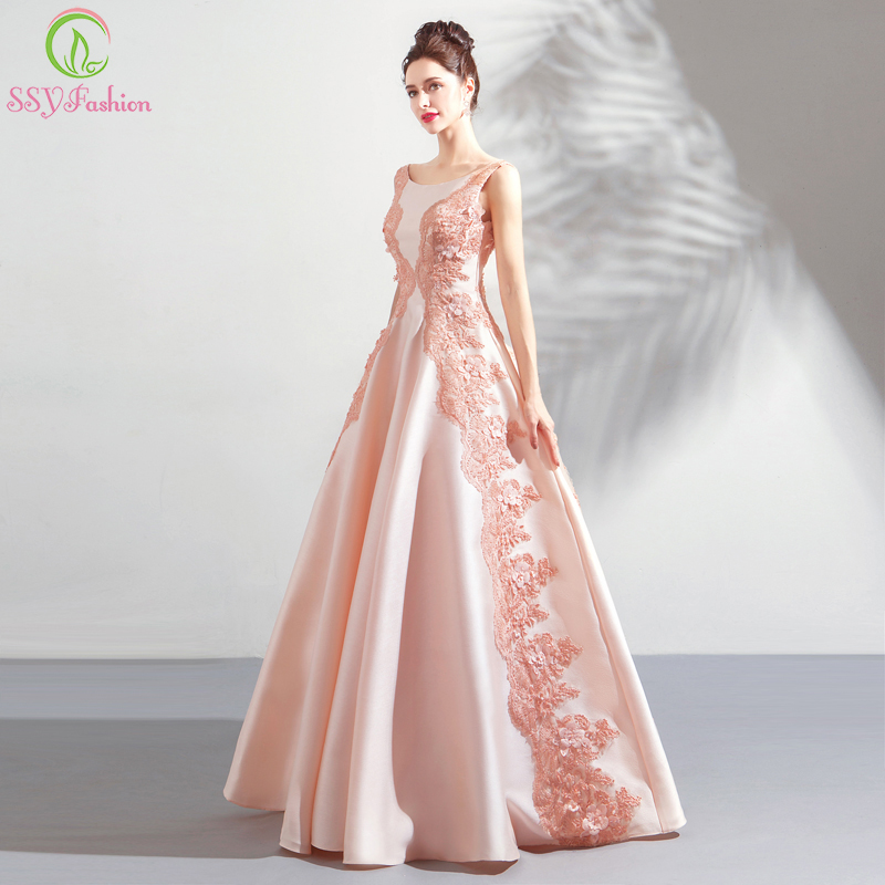 SSYFashion New Sweet Light Pink   Evening     Dress   The Banquet Elegance Satin Lace Appliques Sleeveless Floor-length Prom Party Gown