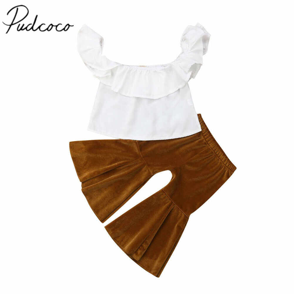 2019 Children Summer Clothing Toddler Baby Kids Girl Off Shoulder Crop Top+ Velvet Flares Pants Bell Bottoms 2Pcs Outfits Set