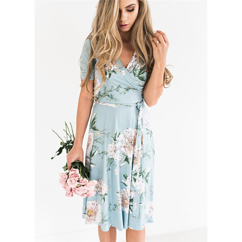 2019 <font><b>Frauen</b></font> Beach <font><b>Sexy</b></font> Women Floral Long Sleeved <font><b>Dress</b></font> V Neck Floral Print Beach Party <font><b>Dress</b></font> Evening Quality image