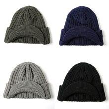 2f2febd4b De los hombres de la moda de las mujeres de invierno de punto sombrero  gorra visera