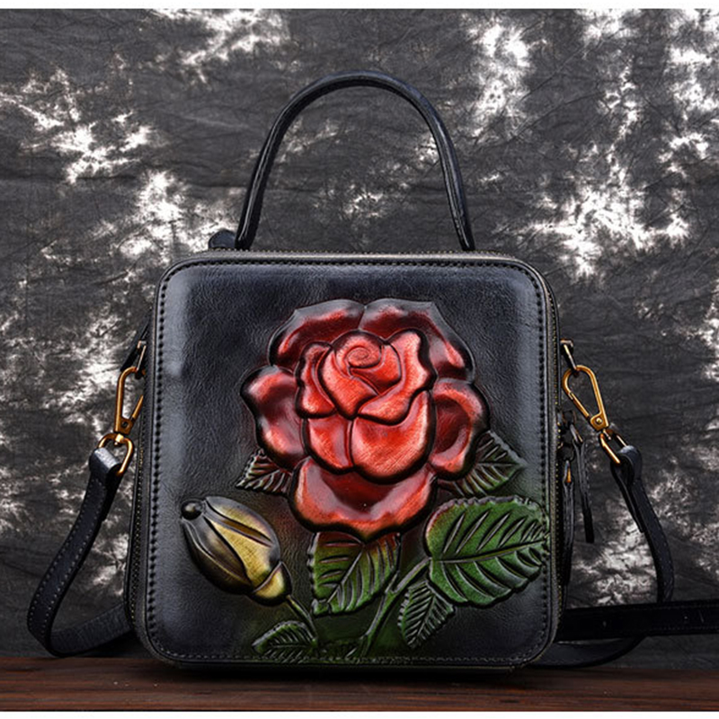 Poignée Véritable Rose Relief À Fourre Épaule Qualité black En Femme green Sac Sacs Main brown Coursier De Vintage Bandoulière Haute Top Coffee Motif purple red tout Pour Cuir v8nqA55w