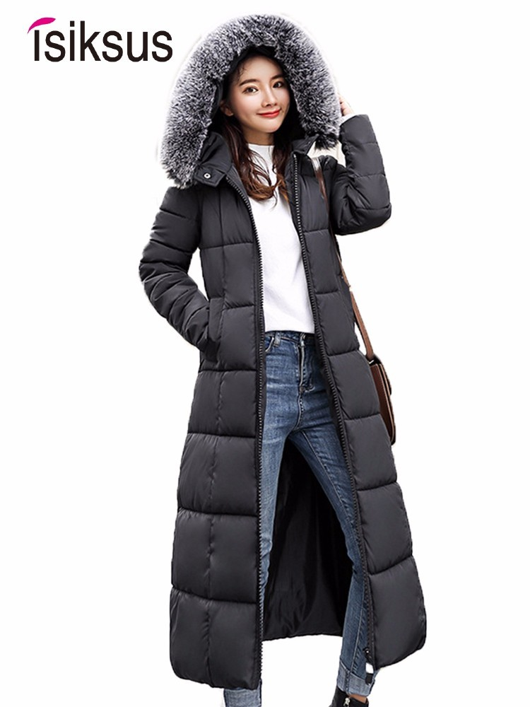 Isiksus Padded Warm Down Jackets Womens Winter Plus Size Long Thick Black Hooded Fur Coats Jacket Cotton   Parkas   for Women WP023