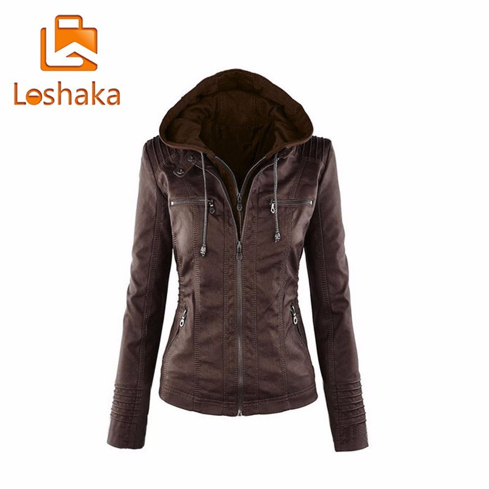 LOSHAKA Winter Faux Leather   Jacket   Women Casual   Basic   Coats Plus Size Ladies   Basic     Jackets   Waterproof Windproof Coats Female