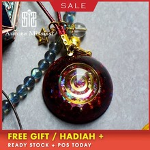 AURA REIKI Orgonite Garnet Natur Alreiki Crystal Pendant Hanging Ornament Resin Decorative Craft Charms Jewelry For Women C0119