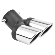 63mm Car Exhaust Dual Pipe Tip Muffler Stainless Stee Silver Glossy Modification styling