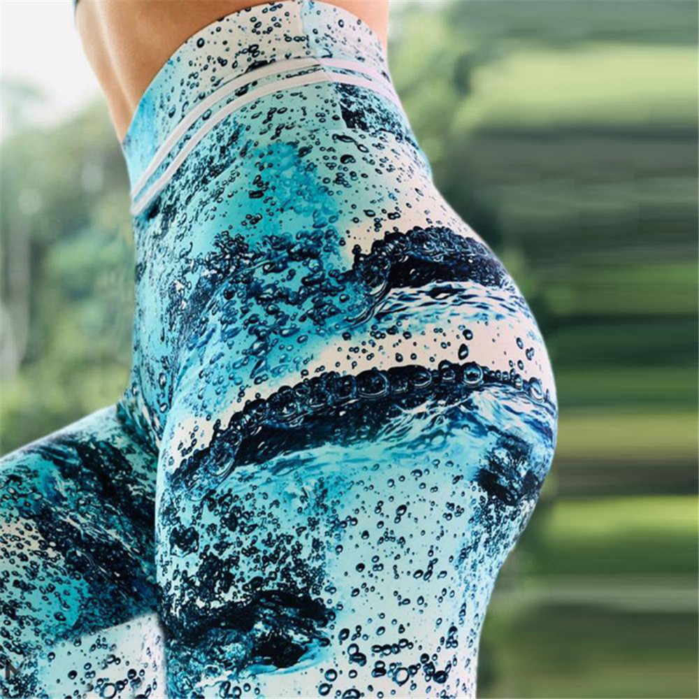 NADANBAO New Arrival Sporting Legging Women High Waist Fitness Leggings Blue Wave Print Workout Leggin For Girl Plus Size Pants