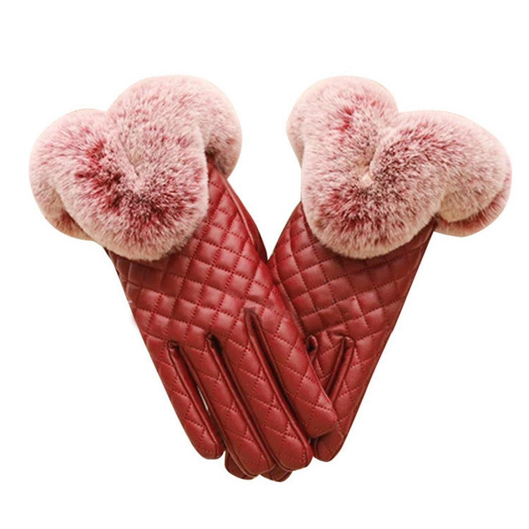 Women's Leather Gloves Warm Women Red Purple Casual Dark Winter Thick Black Finger Wrist Lattice Touch Gloves Screen Guantes Ful