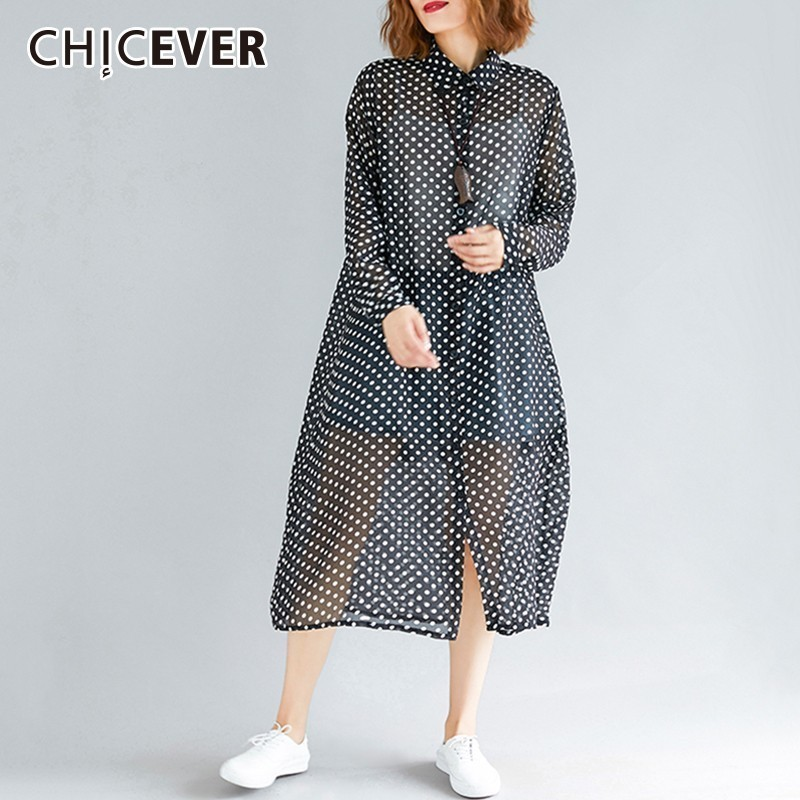 CHICEVER Polka Dot Women's Windbreaker   Trench   Female Coat Lapel Long Sleeve Casual Loose Oversize Windbreakers Autumn Fashion