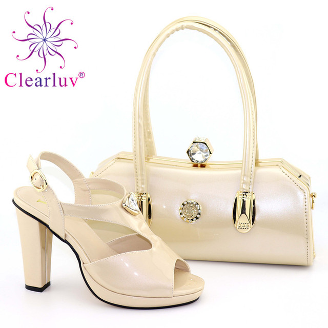 New Woman Italian Shoes and Bags Set Decorated with Rhinestone Sales In Women Matching Shoes and Bag Set Slip on Shoes for Women