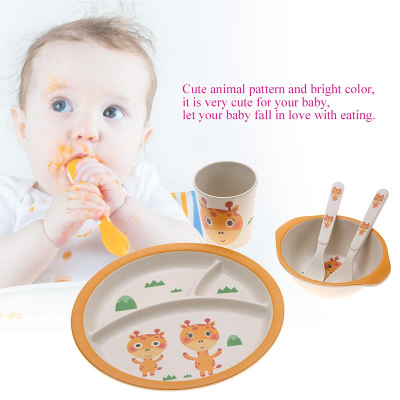 5Pcs//set Bamboo Fiber Baby Plate Bowl Cup Fork Spoon Baby Kids Feeding Tableware