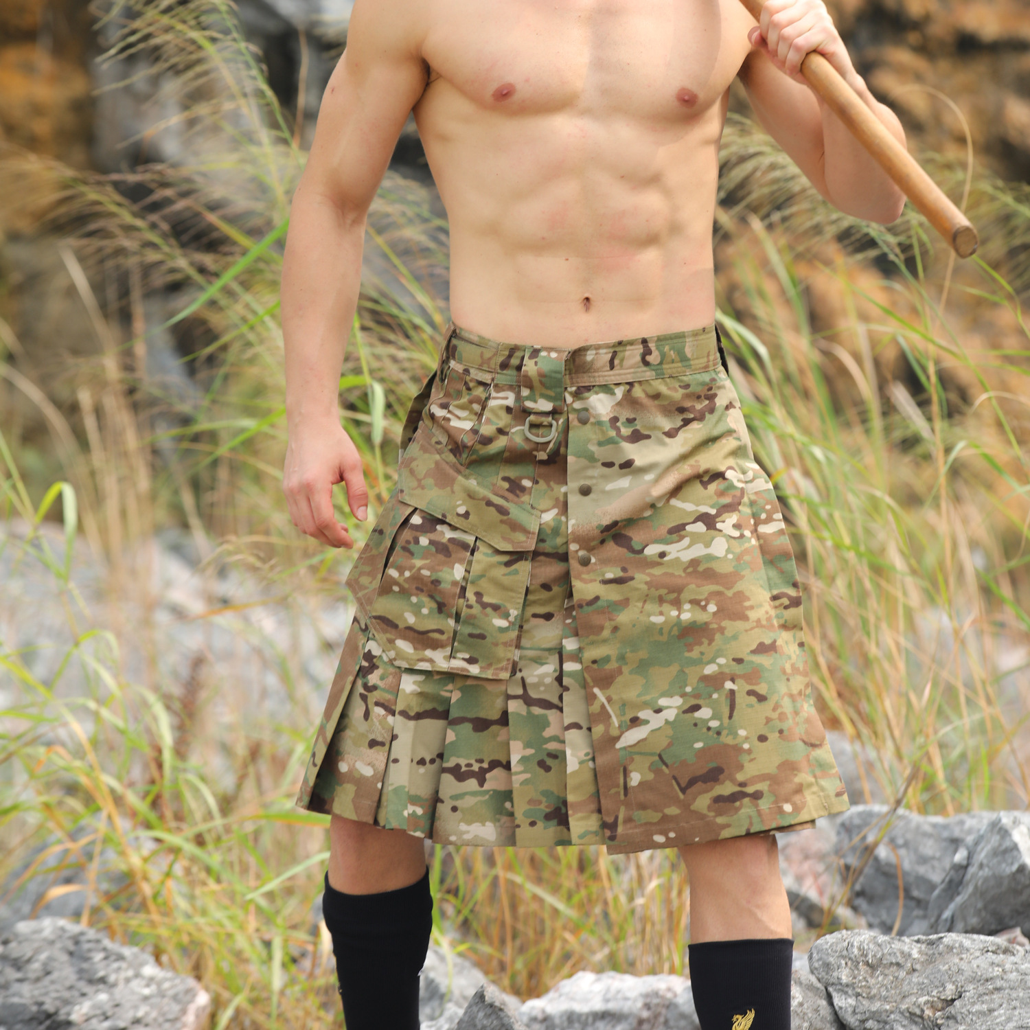 Plaid Cloth Camo Tactical Shorts Skirt Men Women Outdoor Training Climbing Hunting Camping Loose Wearproof Army