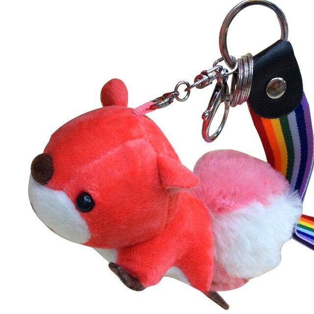 Anel Chave do carro Animal de Pelúcia Esquilo Chaveiro Anel Pendurado Decoração (Vermelho) Q20