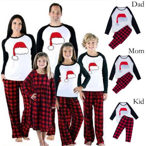 New Lovely Christmas Family Matching Pajamas Set Cotton Warm Fit Women Men Kid Santa Hat Plaid Pants Cute Casual Xmas Sleepwear