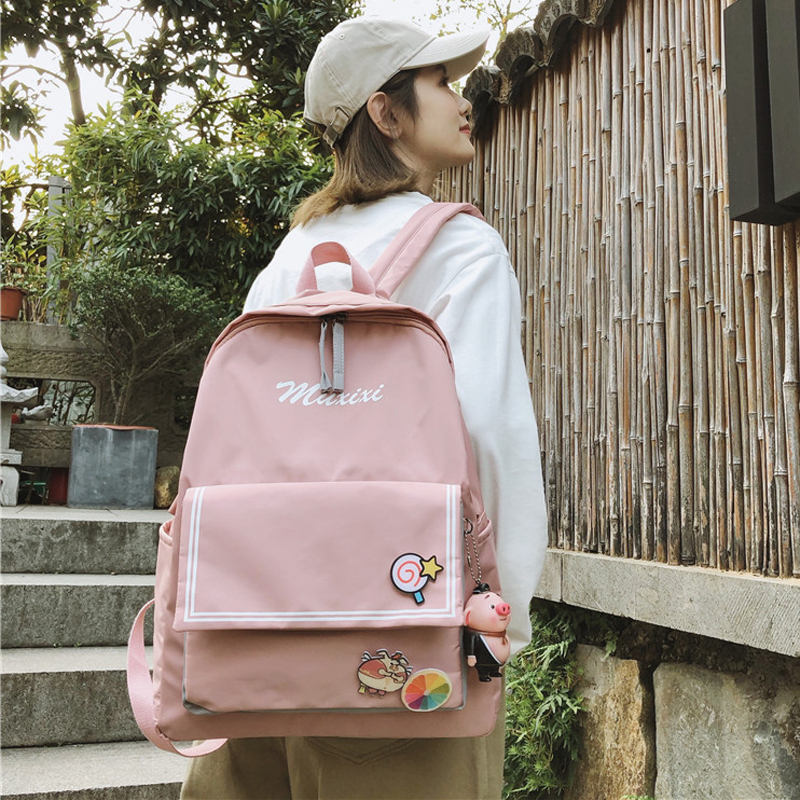 Female Famous Backpack Bags Women Luxury Classic Bag Casual Woman Nylon Bags High School Capacity College Student Campus Bag in Backpacks from Luggage Bags