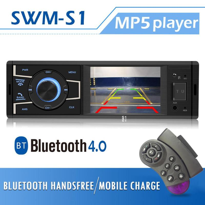 SWM S1 3.2 inch Screen Bluetooth Car Stereo Head Unit FM Radio USB AUX in Auto Car Media MP3 Player with Camera for Car Parking