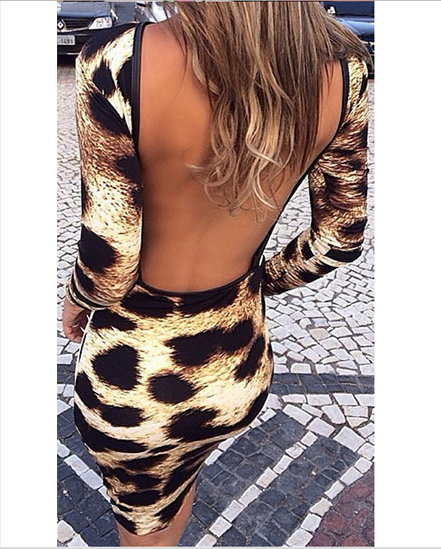 Hat Sale <font><b>2018</b></font> Women Autumn Fashion Backless Bodycon Print Dresses Long Sleeve Leopard <font><b>Sexy</b></font> Slim <font><b>Club</b></font> <font><b>Wear</b></font> Dress For Girls Party image