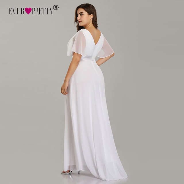 US $32.98 30% OFF|Plus Size Wedding Dress 2019 Ever Pretty Beach Simple A  line Chiffon White Robe De Mariee Elegant V neck Vestido De Noiva-in  Wedding ...