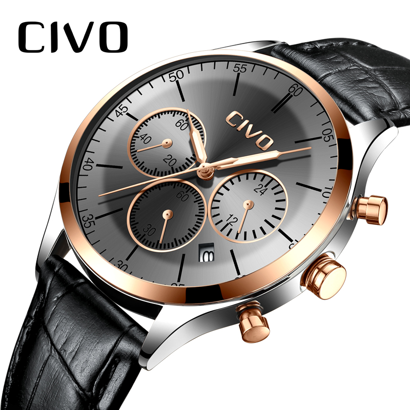 CIVO Luxury Top Brand Men Watch Waterproof Chronograph Sports Quartz Watches Gents Genuine Leather Wristwatches Clock