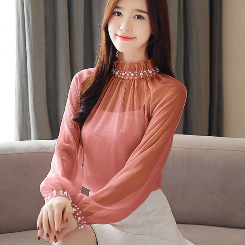 Spring new chiffon blouse long sleeve womens tops and blouses lace bottom female clothes beading women shirts clothes 1807 50
