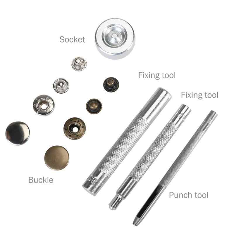 50 Set Metal Snap Buttons Fasteners Studs No Sewing Clothing Snaps Button  with Fixing Tool for Fabric