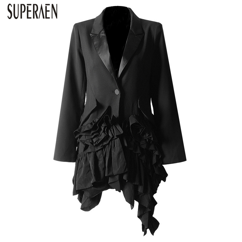 SuperAen Fashion Irregular Ruffled Long sleeved Women Suit Jacket Solid Color Cotton Wild Casual Ladies Jacket