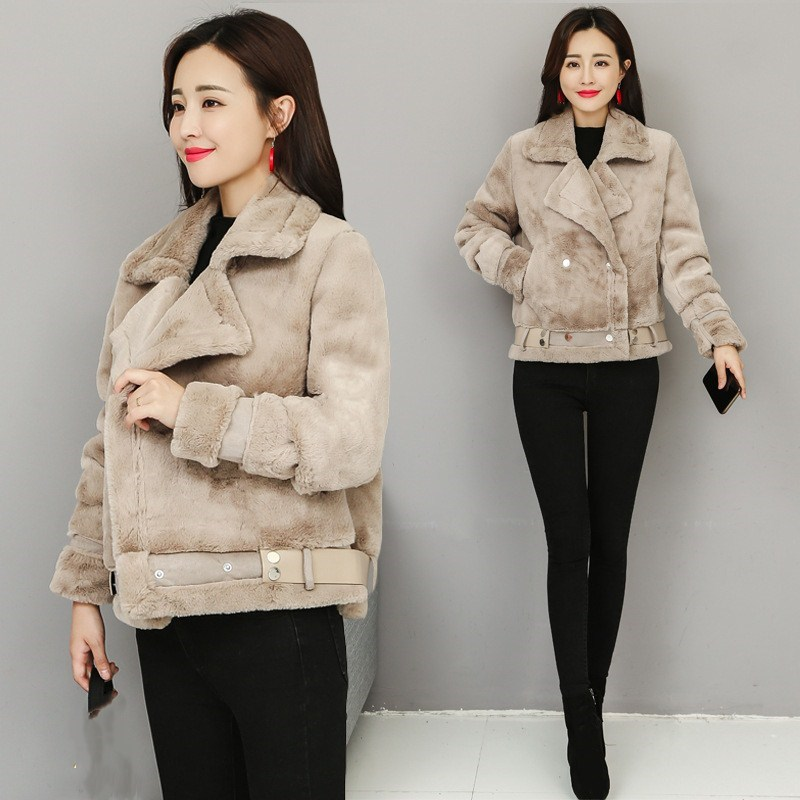 Hot Sale Women Thicken   Suede     Leather   Jacket Casual Lamb Wool Warm Coat Winter Turn-Down Collar Short Outerwear