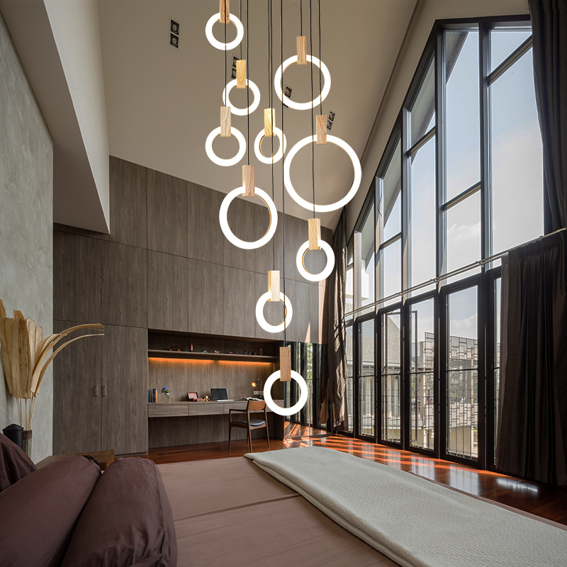 Chandeliers Post-modern Led Chandelier Wooden Bedroom Suspended Lighting Loft Novelty Fixtures Nordic Luminaires Living Room Hanging Lights Ceiling Lights & Fans