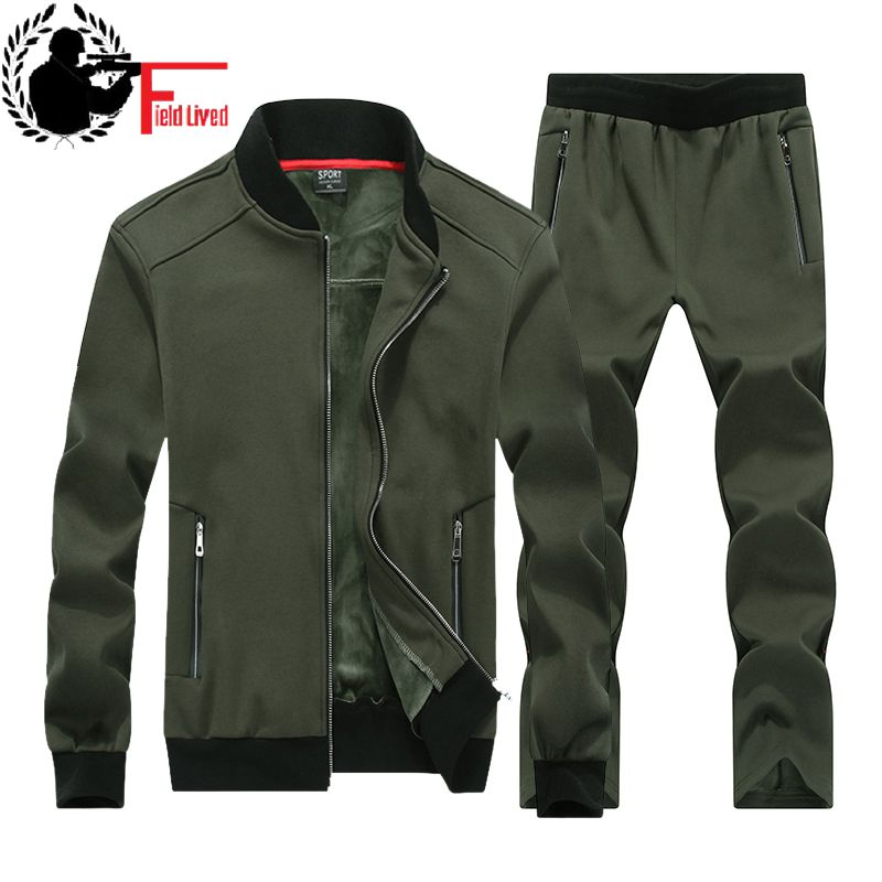 Winter Mens Sportwear Sweatshirt Tracksuit Male Hoodies Casual Warm Track Suit Zipper Sporting Wear Two Piece Set Kids Big Size