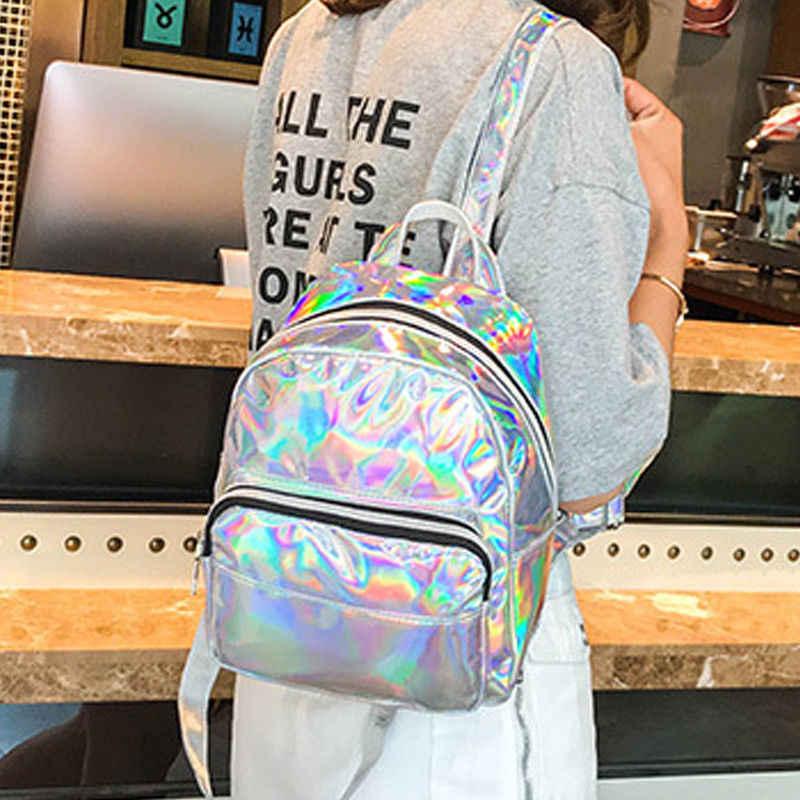 2019 הכי חדש סגנון נשים הולוגרמה לייזר מתכתי בית ספר ילדה תרמיל נסיעות כתף תיק עבודת מחשב נייד