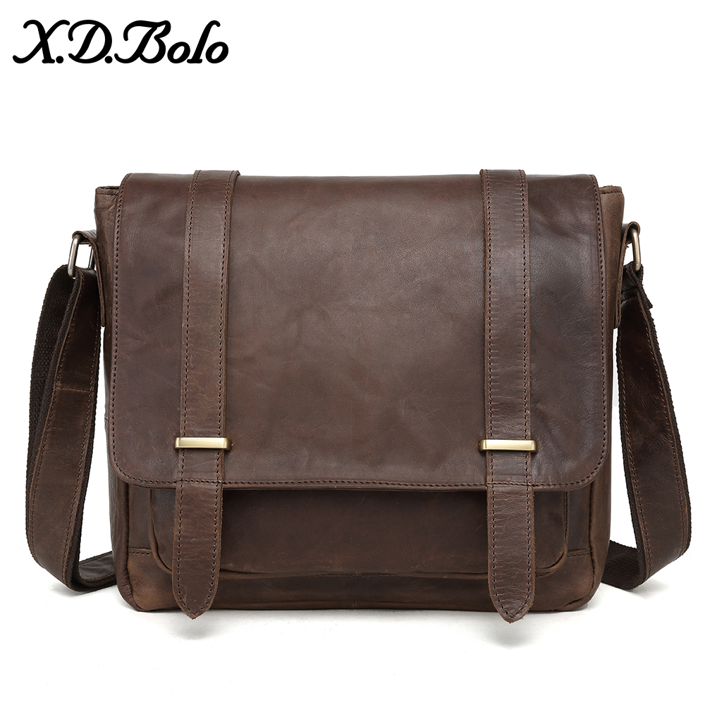 35aa6dab051 X.D.BOLO Messenger Bag Men Genuine Leather Men's Shoulder Bags Cowhide  Casual Crossbody Bags Crazy Horse