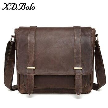 b35413660141 X. D. BOLO сумка-мессенджер для мужчин из натуральной кожи мужские сумки на  плечо из воловьей кожи повседневные сумки через плечо Crazy Horse мужская.