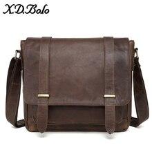 X.D.BOLO Messenger Bag Men Genuine Leather Mens Shoulder Bags Cowhide Casual Crossbody Crazy Horse for Male
