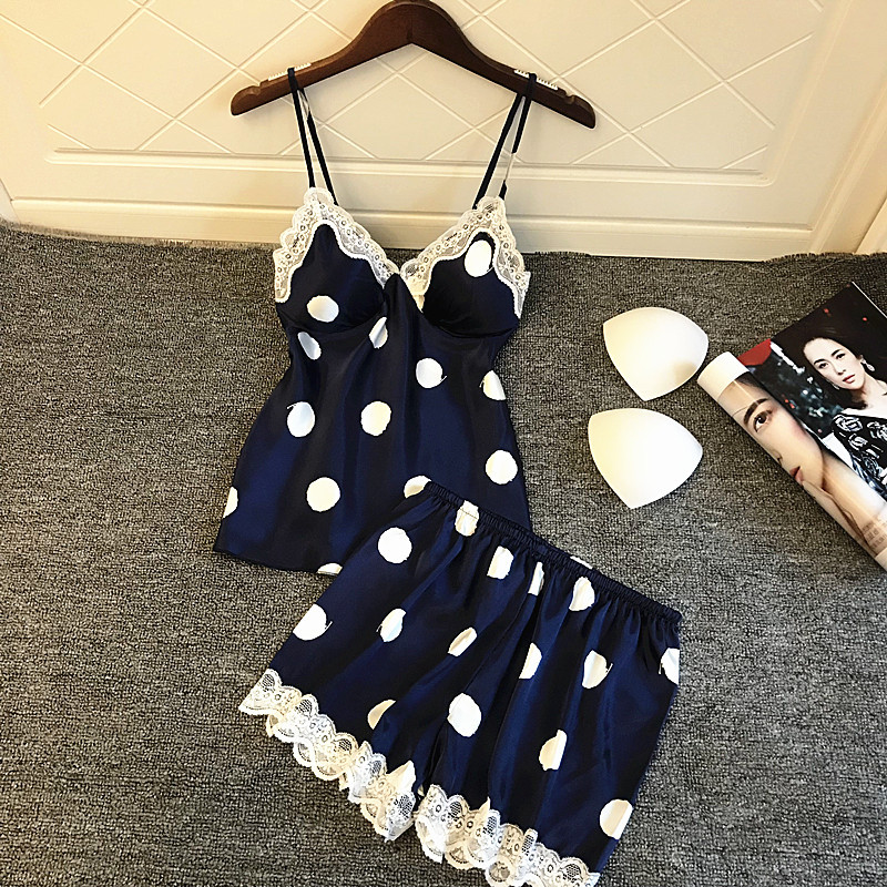 With Chest Pad Fashion Printing Dot  Pajamas Spaghetti Strap Lace Sexy  Pajama Sets For Women