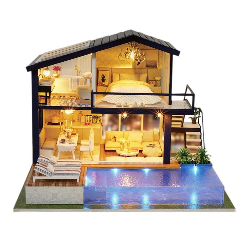 Kit de meubles de maison de poupée bricolage Mini appartement en bois housse de poussière boîte à musique maison de poupée miniature à monter soi-même avec meubles en bois maison jouet