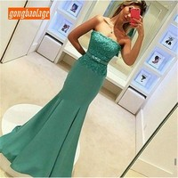Elegant Green Mermaid Dress Evening 2019 High Quality Strapless Lace Top Satin Long Prom Gown Custom Made Party Dresses Cheap