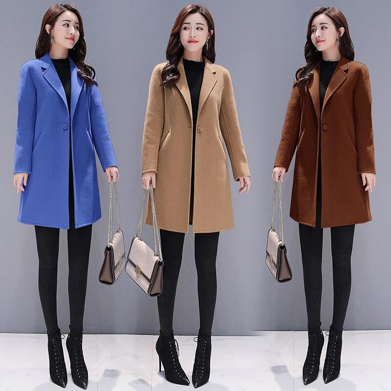 Coton épaississement à manches longues tweed nouveau manteau en tissu femmes long pardessus solide vestido vêtements automne hiver tenues manteaux en laine