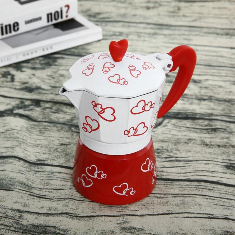 European Red Heart Printed Coffee Maker Aluminum Alloy Espresso Mocha Coffee Pot for Home Kitchen Tool 150ml/300ml Coffee Pots