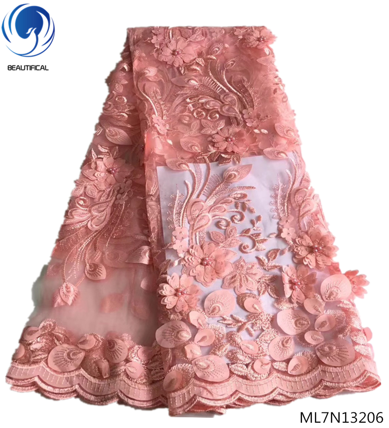 BEAUTIFICAL peach lace fabric 3d tulle fabric 3d flowers embroidery lace fabric with beads for wedding