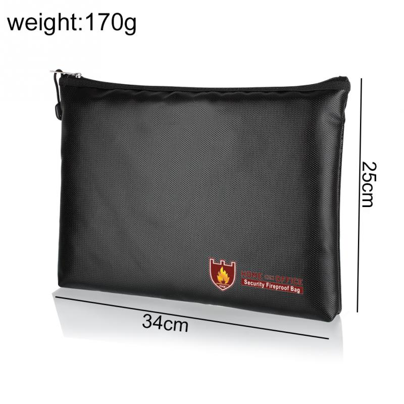 Silicone Fiberglass Cloth Safe Briefcase Document Bag Waterproof Envelope Office Supplies Pouch Large Space Fireproof 3 Sizes